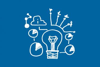 White Light Bulb - Blue Background