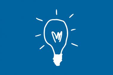 White Lightbulb - Blue Background